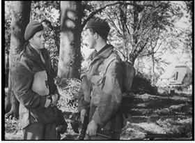 Major Maquire and Private Holt during a scene behind the Hartenstein (reelstreets)