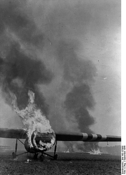 Germans set fire to the Gliders.