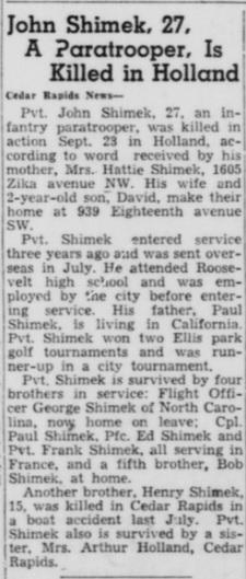 Cedar Rapids Gazette 25-10-1944