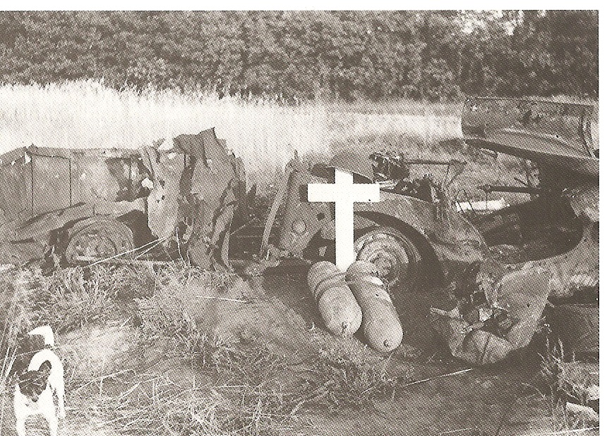 Jeep and trailer wreckage, when a glider was set to fire by the German, and grave of unknown soldier.