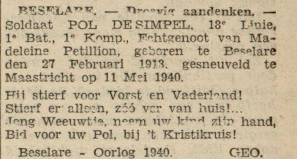 De Poperinghenaar 10-8-1940