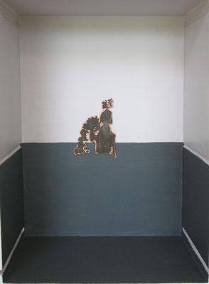 CRATES Antenati - Ninfa; silhouette in lamina di rame ossidata su fondo laccato a mano
