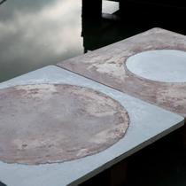 CIRCLES, 2009; A.F.Borzacchini; reclaimed table tops; stucco, cocciopesto, concrete, epoxy resin