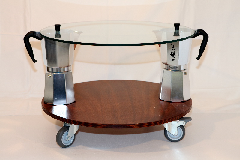 MOKA coffitable, round, cm.60/68x43 - 2 Moka Bialetti 18t, glass, mahogany plywood,wheels