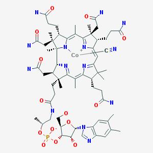 Vitamine B12. Sa synthèse totale est réalisée par Robert Burns Woodward, Albert Eschenmoser et leur équipe en 1972