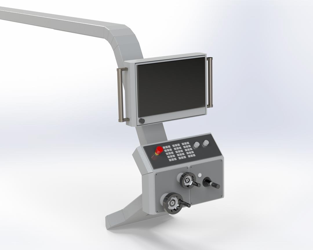 Variante A: Handräder-Bedienpult und Monitorkonsole getrennt angebracht