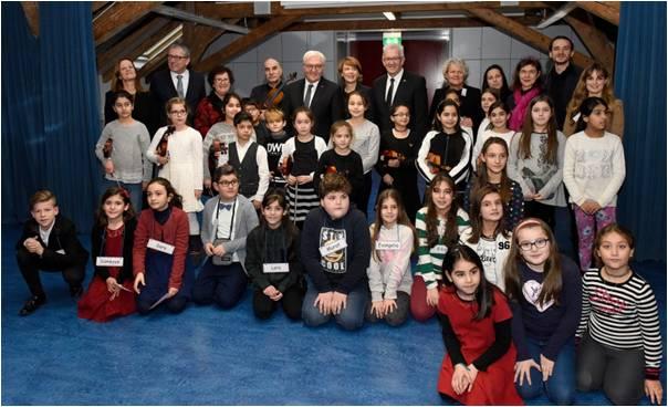Beim Besuch des Bundespräsidenten Steinmeier in der Johannes Kepler Schule 2017