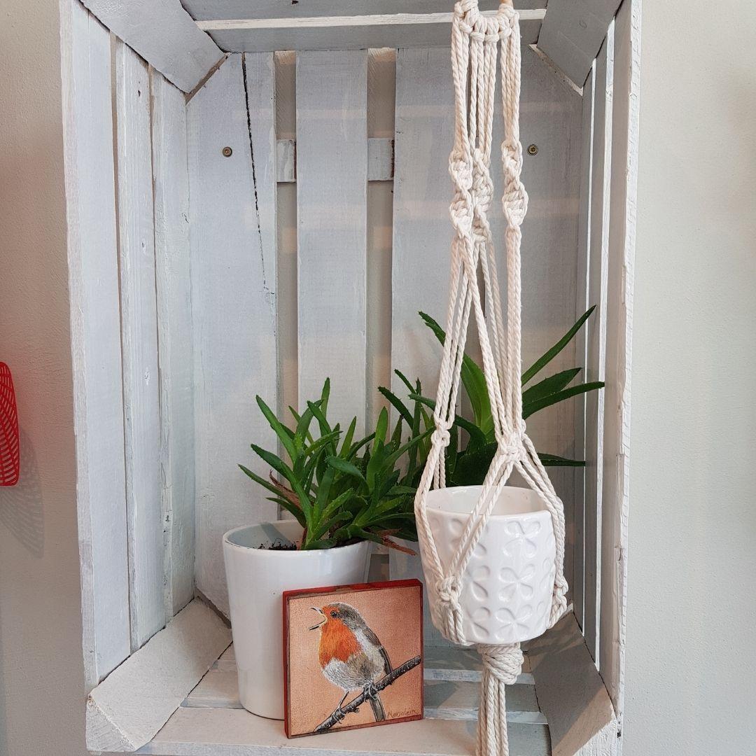 Macramé plantenhanger knopen