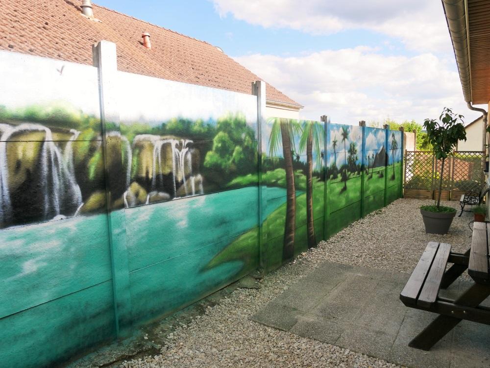 fresque-murale-jardin-terrasse-paysage-palmier-cascade