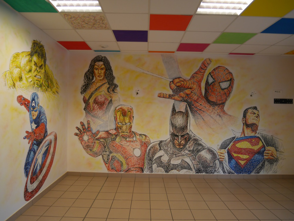 fresque-chambre-décors-marvel-captain-america-spider-man-super-man