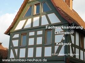 Fachwerksanierung - Lehmsteine und Kalkputz in 63543 Neuberg Rüdighem