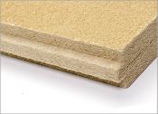 putzfähige Holzfaserdämmplatte mit Nut und Feder, Stärke: 40, 60, 80, 100 mm, sowie Laibungsplatten für Fensterlaibungen in 20 und 40 mm.