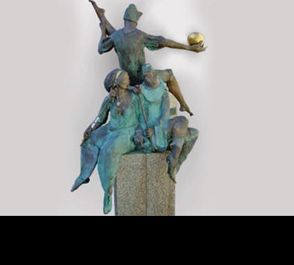 """""""Gaukler"""" 2004; Bildhauer: Frey Harro; Standort: Fürth, Grüner Markt; Guß: Franz Jahn"""