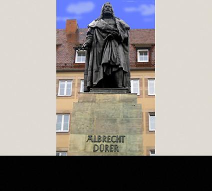 Albrecht-Dürer-Denkmal, 1849; Standort: Nürnberg, Albrecht-Dürer-Platz; Bildhauer: Christian Daniel Rauch; Guß: Jakob Daniel Burgschmiet