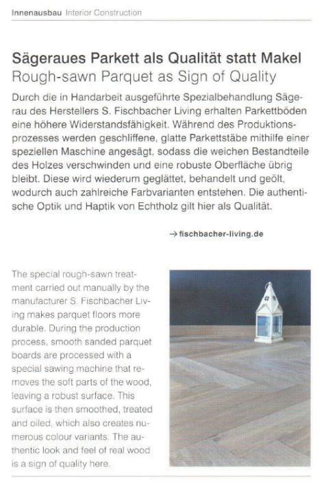 """Presseveröffentlichung S. Fischbacher Living in der Zeitschrift """"Detail 7/8 2018"""""""