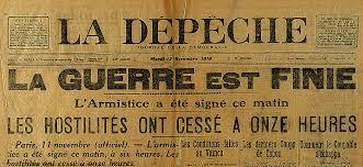 Gros titre du journal La Dépêche annonçant la fin de la guerre. Source: Historyweb.fr