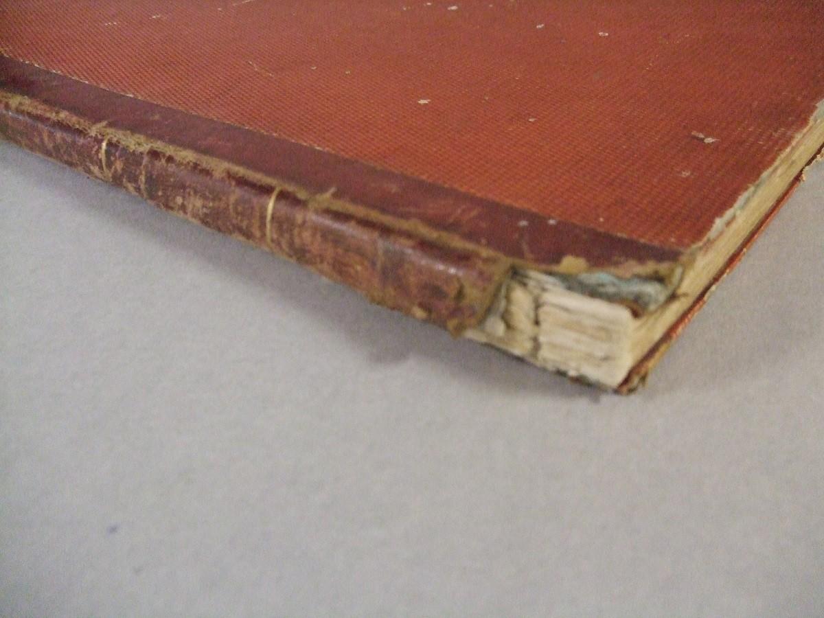 Particolare del dorso del libro prima del restauro