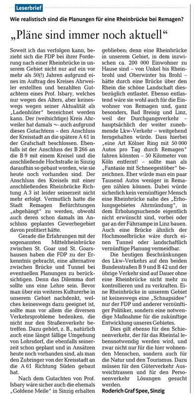 Leserbrief von Roderich Graf Spee zur Rheinbrücke bei Remagen in der Rheinzeitung