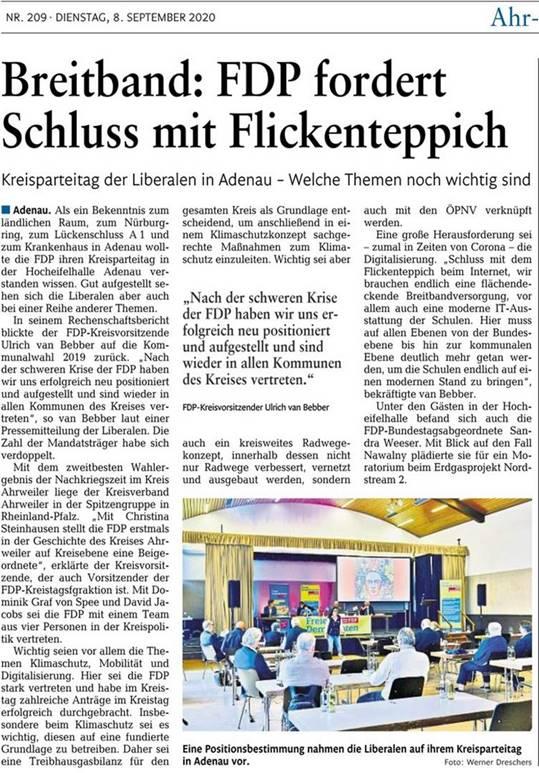 """Beitrag """"Breitband: FDP fordert Schluss mit Flickenteppich"""" der Rhein-Zeitung, Ausgabe K, vom 08.09.2020, Seite 19 zu unserem Kreisparteitag in Adenau mit freundlicher Genehmigung der Rhein-Zeitung"""