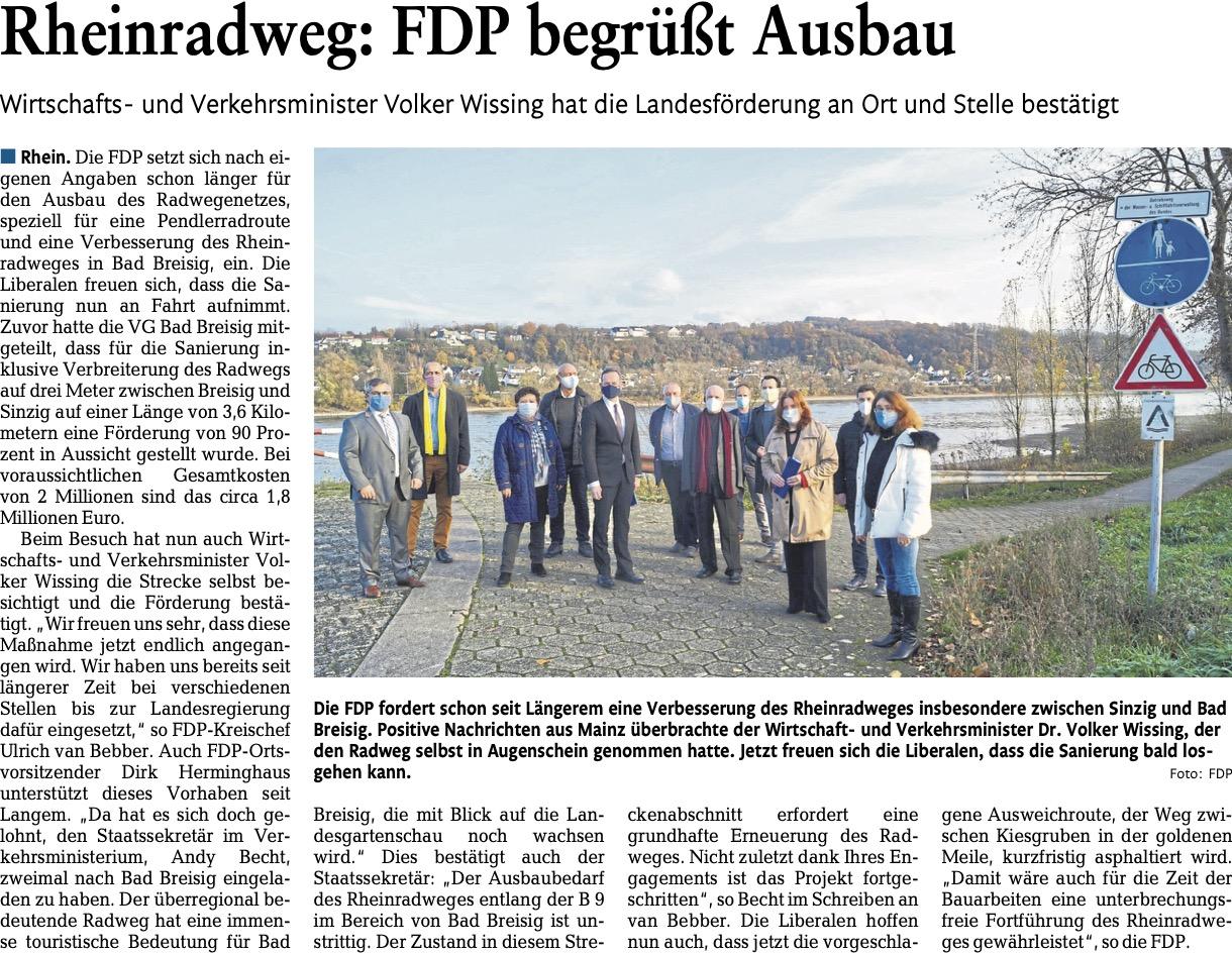 Rheinradweg: FDP begrüßt Ausbau