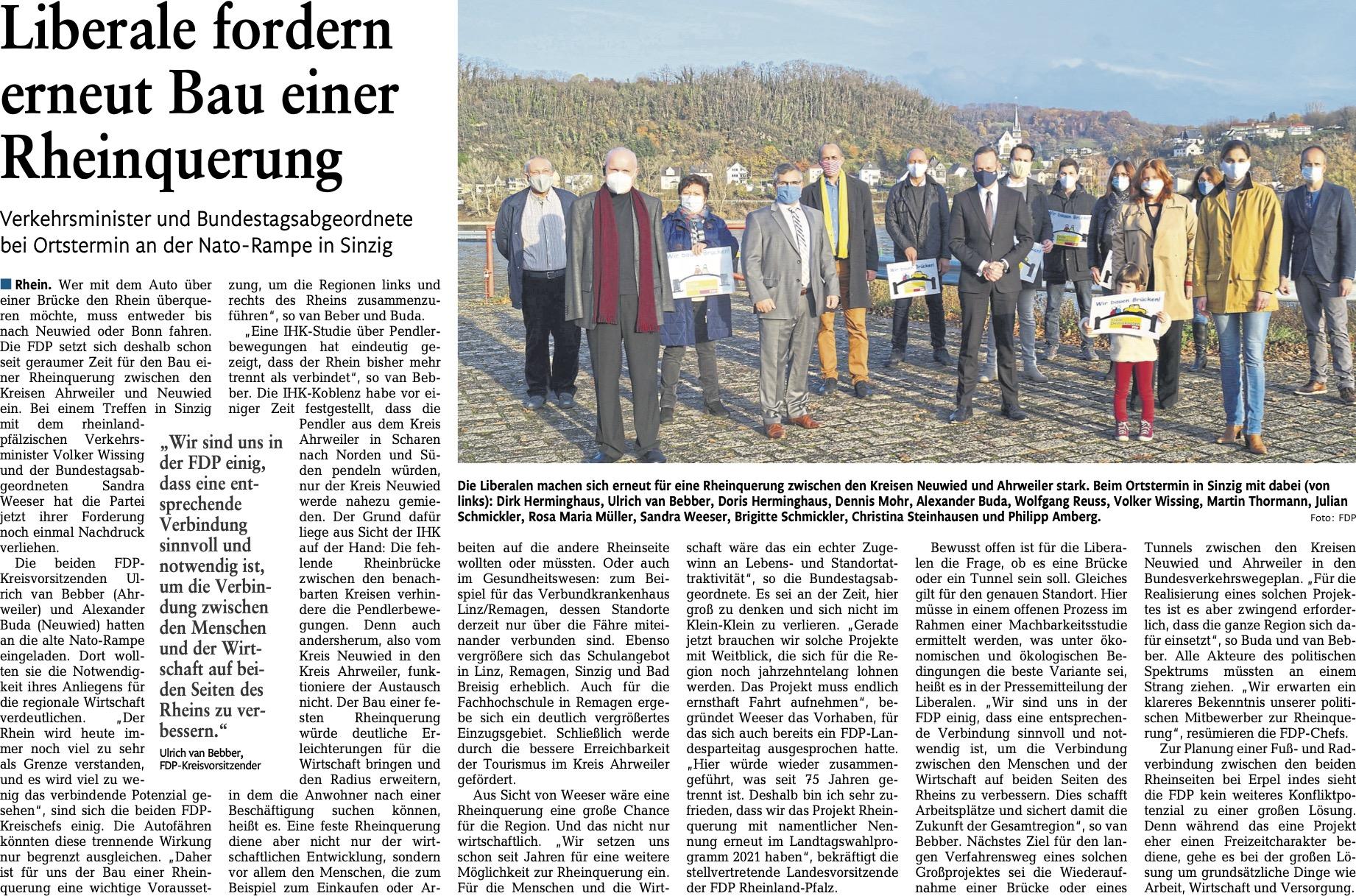 Liberale fordern erneut Bau einer Rheinquerung