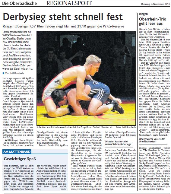 Quelle: Die Oberbadische, Lörrach - 3.11.2015