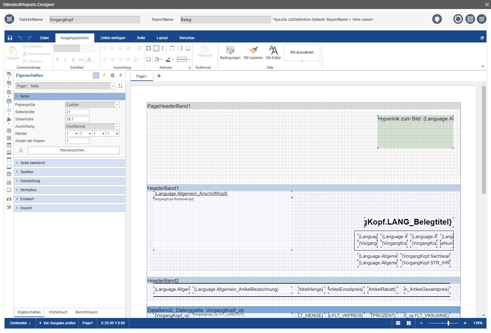 Beleg erstellen / konfigurieren direkt im Browser / Intrexx