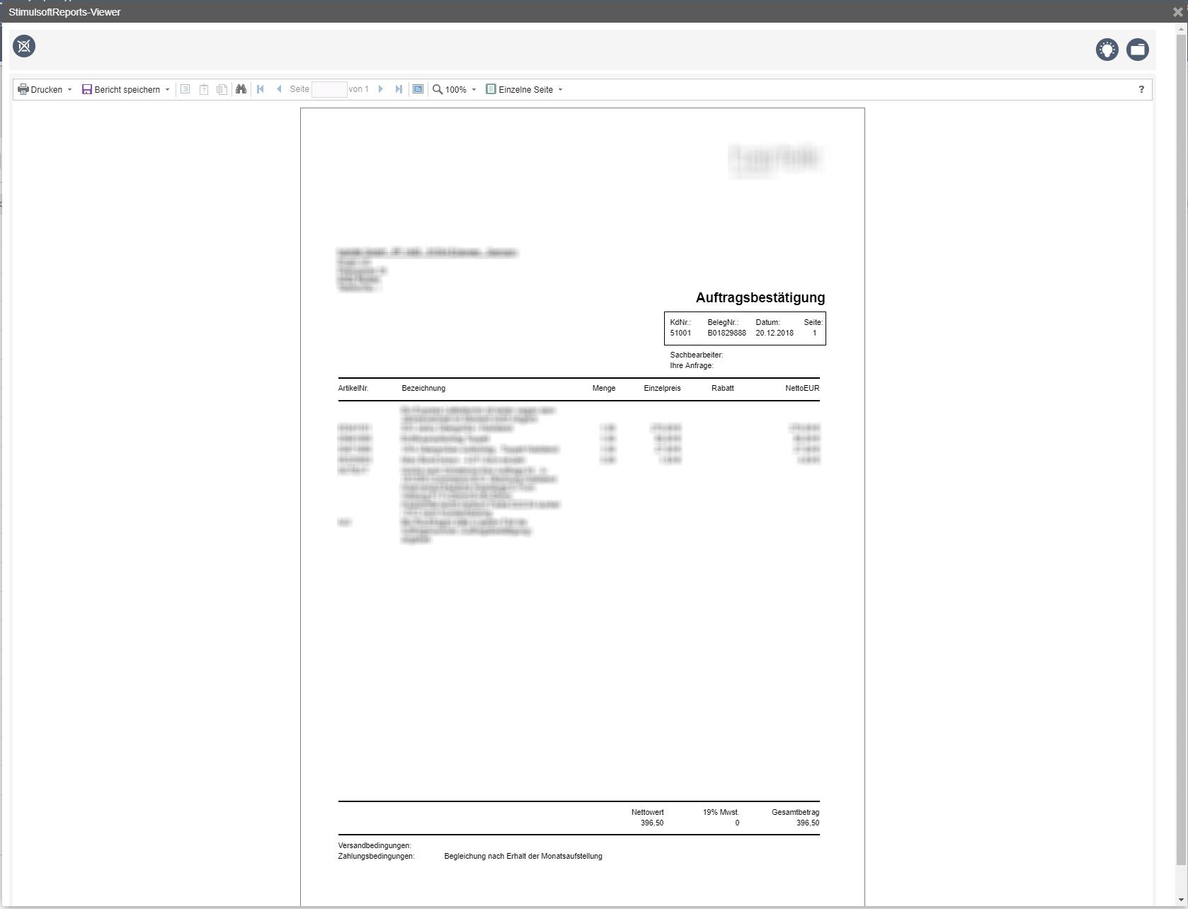 Voransicht über den integrierten Report-Generator