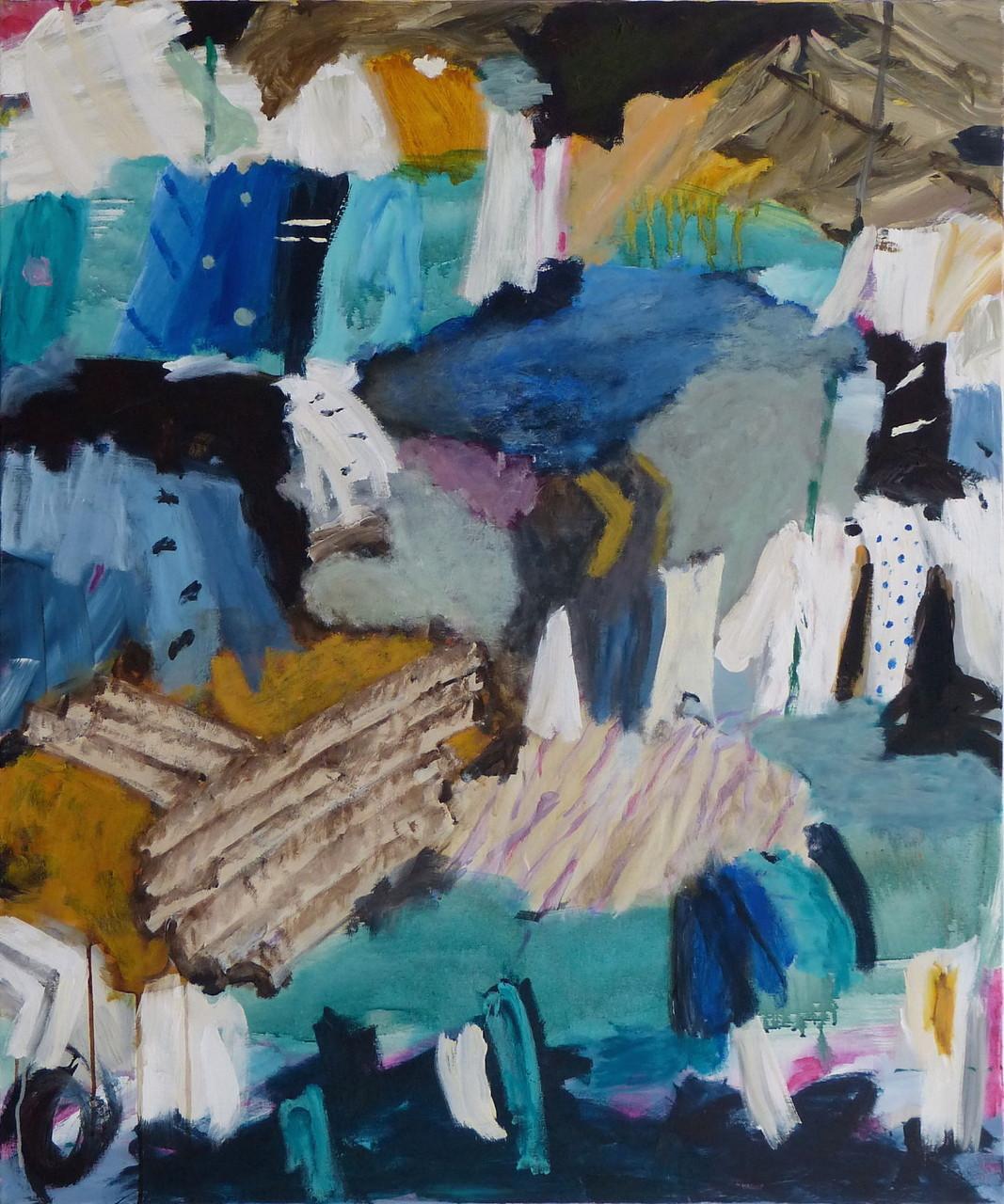 Dhobi Ghat V, Acryl/Lwd., 120 x 100 cm, 2013