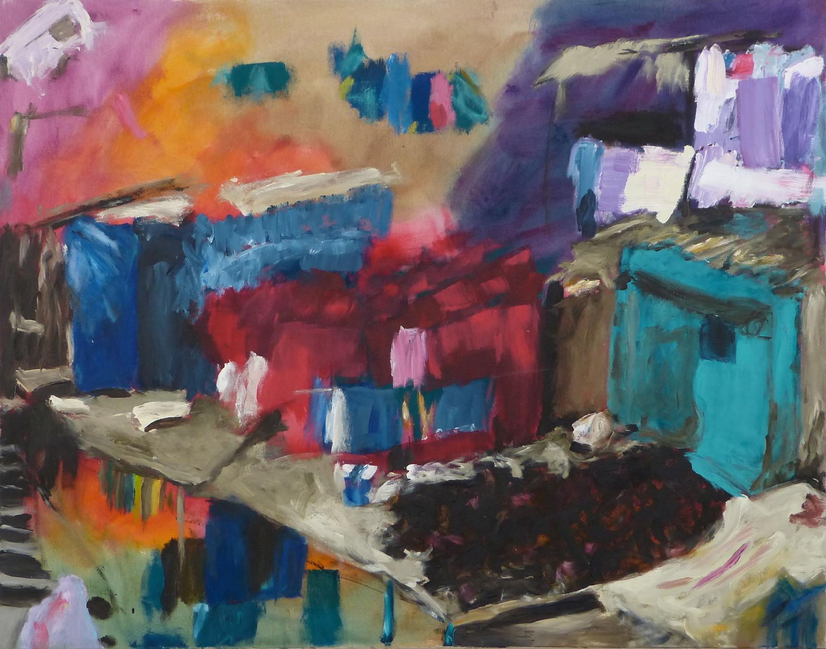 Dhobi Ghat I, Acryl/Lwd., 110 x 140 cm, 2013