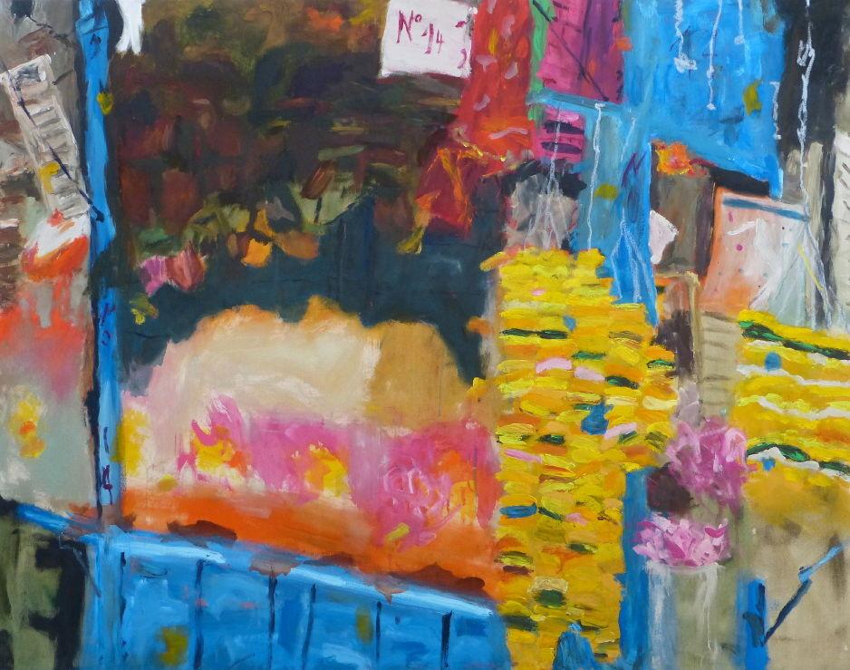 Crawford Market, Mumbai, Acryl/Lwd. 110x140 cm, 2014
