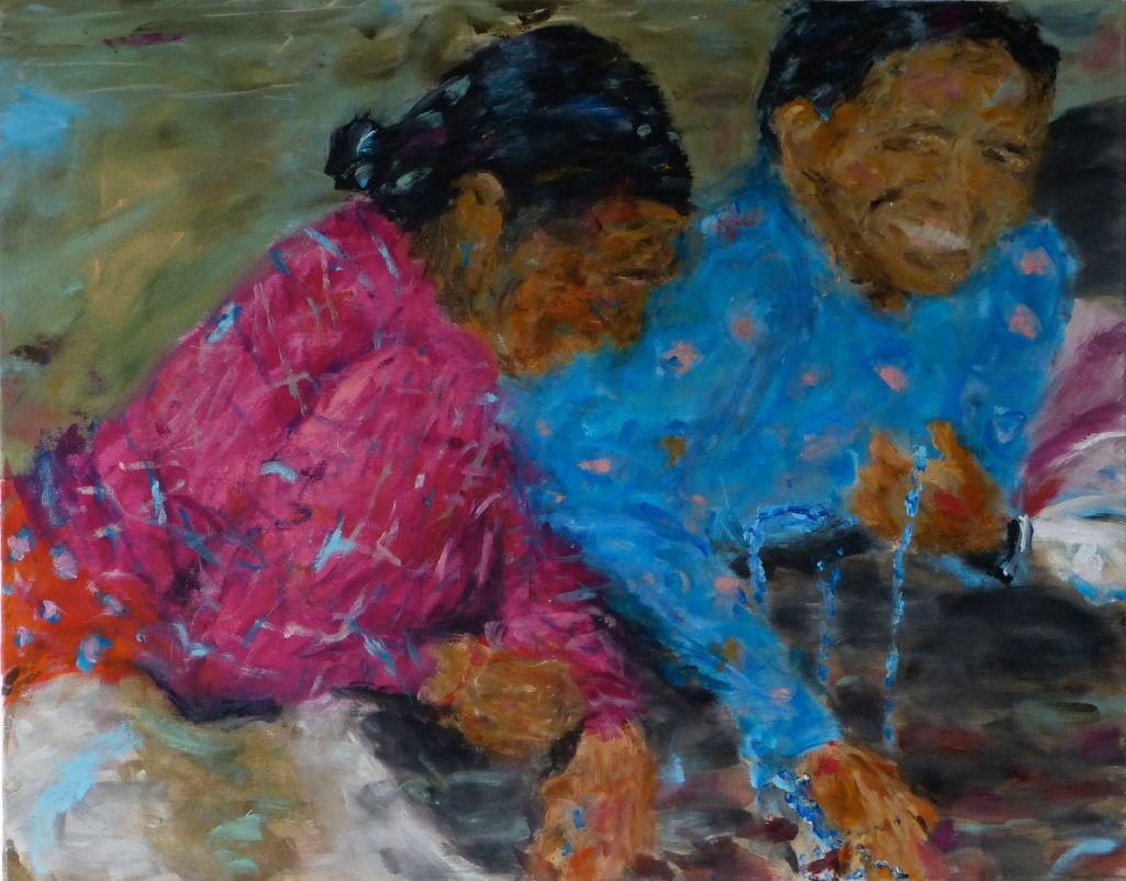 Nepali III, Acryl/Lwd. 70x90 cm, 2014