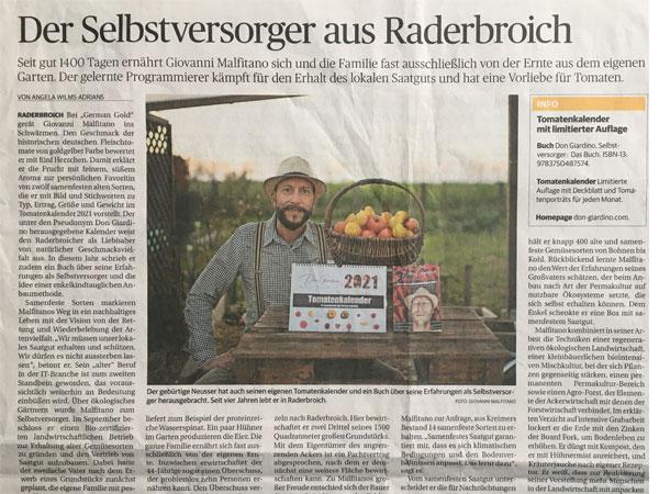 Zeitungsartikel in der Rheinischen Post