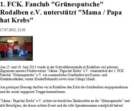 Homepage Papa/Mama hat Krebs 17.07.2013