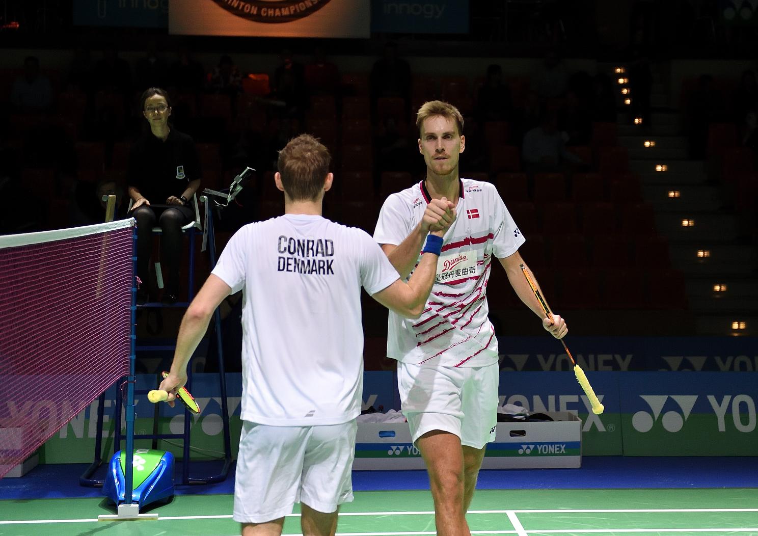 Die zweite dänische Paarung im Halbfinale des Herrendoppels: Mads Conrad-Petersen und Mads Pieler Kolding