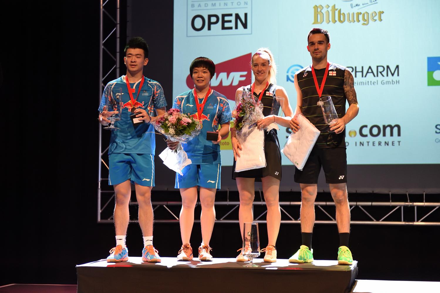 Auch im dritten Finale konnten Chris und Gaby Adcock nicht ihren ersten Sieg in Saarbrücken feiern. Zhen Siwei und Chen Qingchen machten den Tag aus chinesischer Sicht perfekt