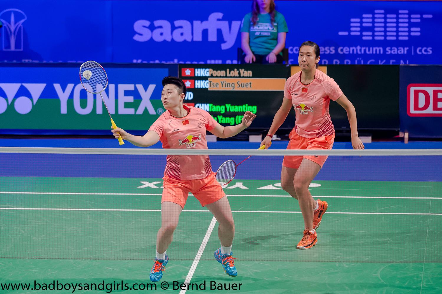 An ihnen führte kein Weg vorbei: Yu Yang und Tang Yuanting, die einzigen Chinesen des Turniers, holten sich souverän den Titel im Damendoppel.