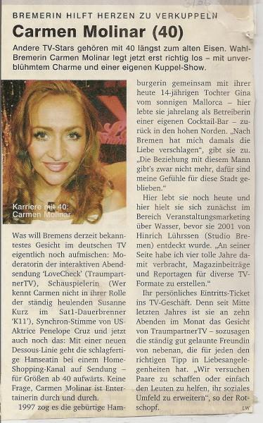 Interview mit TV Moderatorin Carmen Molinar im Bremer, die Stadtillustrierte