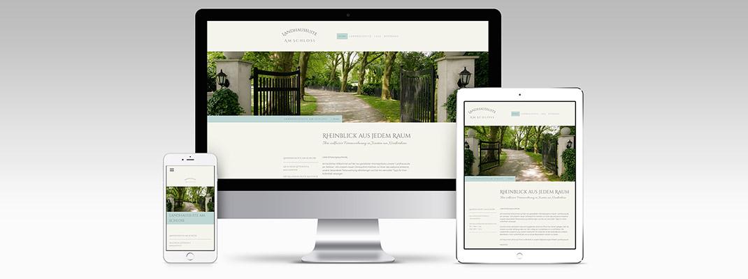 Homepage Landhaussuite am Schloss Xanten im Responsive Design