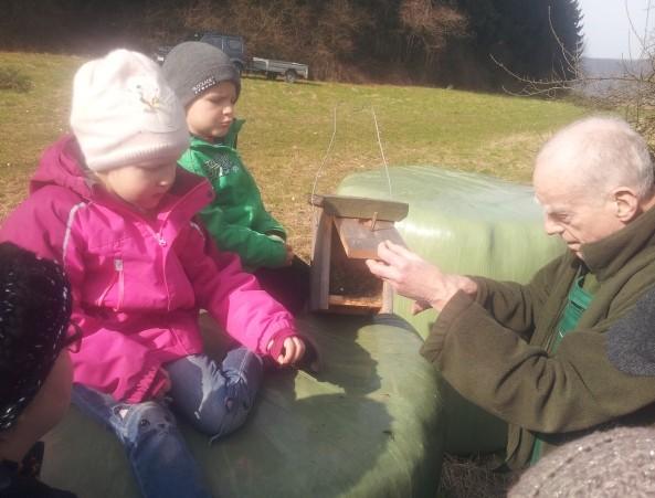 Bei der Kontrolle der Nisthöhlen lernen schon die Kleinsten etwas über die Natur