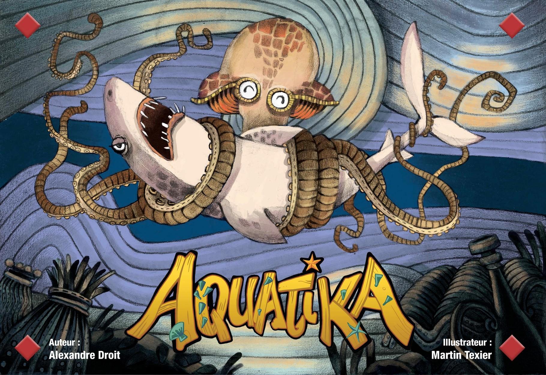 Couverture d'Aquatika. Base traditionnelle (encre et crayon noir), colorisation numérique.