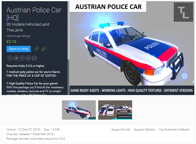 TheLukrie Unity Asset Pack, Austrian Police Car, Unity3D