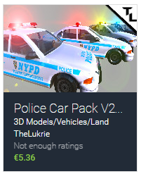 TheLukrie Unity Asset Pack, Police Car Pack V2, Unity3D
