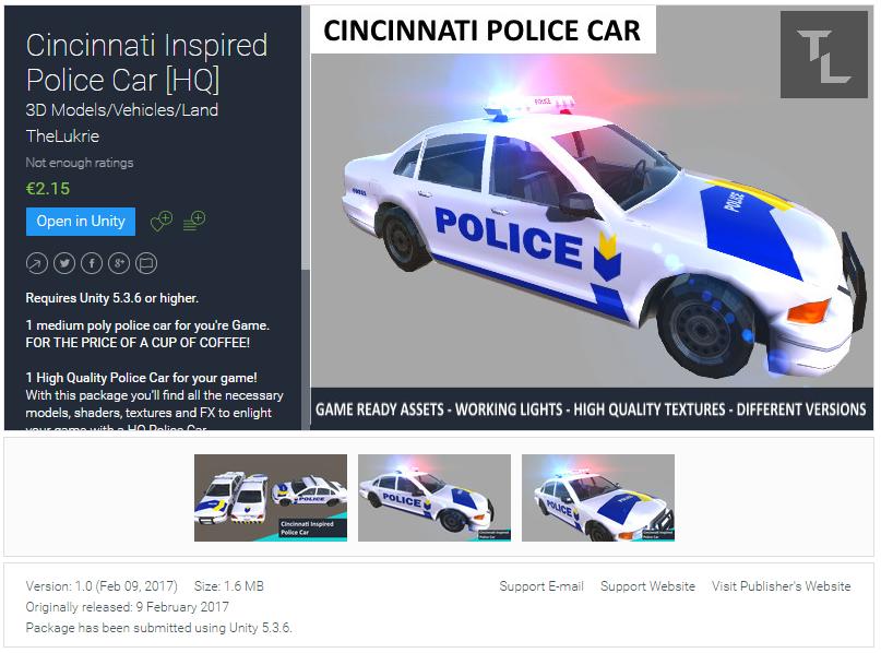 TheLukrie Unity Asset Pack, Cincinnati Inspired Police Car, Unity3D