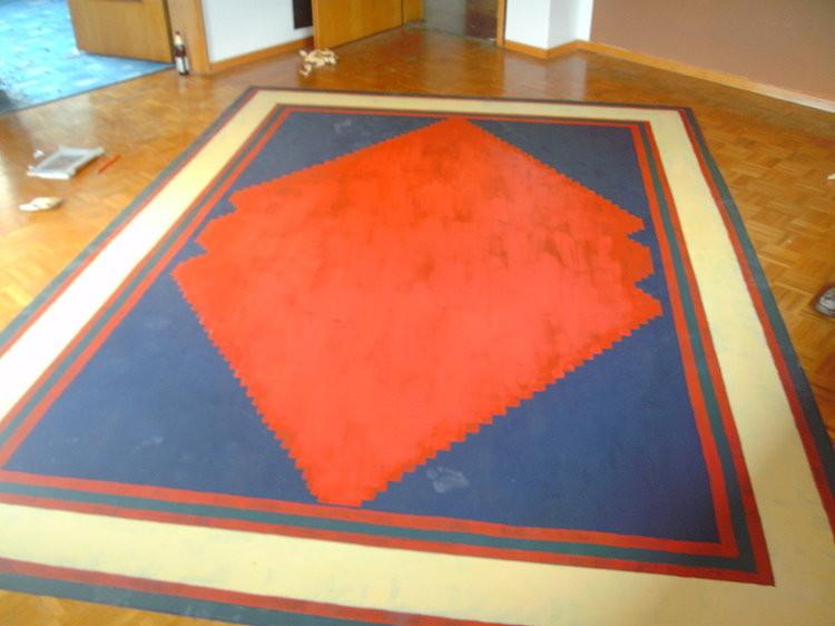 """""""das Haus neben meinem Haus wird Kunst"""", Gruppenausstellung Abbruchhaus Dieselstraße 4 Nürtingen, Teppich aufs Parkett gemalt. 2012"""