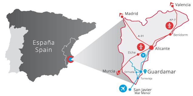 Mapa Guardamar Del Segura.Location Luxueuze Penthouse Costa Blanca Spanje
