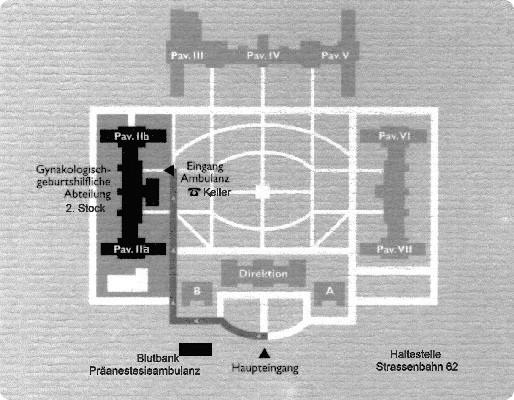 Lageplan Krankenhaus Hietzing. Abteilung für Gynäkologie & Geburtshilfe im Pavillon II