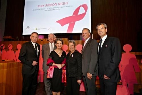 Pink Ribbon Night 2012 im Parlament mit der Präsidentin des Nationalrates Barbara Prammer, Frau Margit Fischer und Univ. Prof. Christoph Zielinski