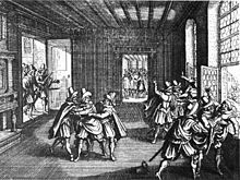 Contemporary woodcut depicting the Second Defenestration of Prague (1618), which marked the beginning of the Bohemian Revolt, at the beginning of the Thirty Years' War. (Source: Wikepedia)