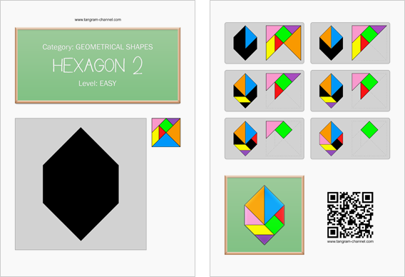 Tangram worksheet 156 : Hexagon 2 - This worksheet is available for free download at http://www.tangram-channel.com